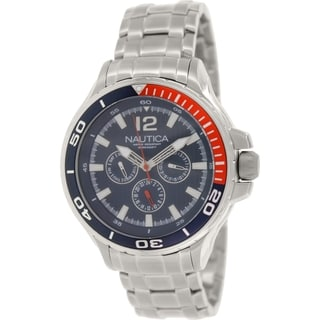 Nautica Men's Nst 02 N22616G Silver Stainless-Steel Quartz Watch with Blue Dial