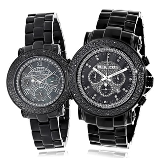 Luxurman Black 1/3ct TDW Black Diamond His and Hers Watch Set