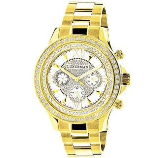 Luxurman Yellow Gold-plated Stainless Steel Men's 2ct TDW White Diamond Bezel Watch with Metal Band