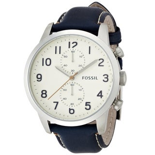 Fossil Men's Townsman FS4932 Blue Leather Quartz Watch with White Dial