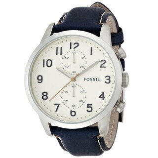 Fossil Men's Townsman FS4932 Blue Leather Quartz Watch with White Dial