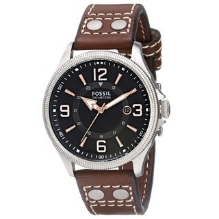 Fossil Men's Recruiter FS4962 Brown Leather Quartz Watch with Black Dial