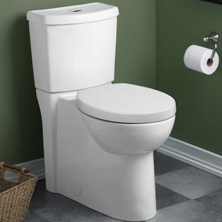 American Standard White Studio Right Height Round-front Siphon Dual Flush Toilet Combo