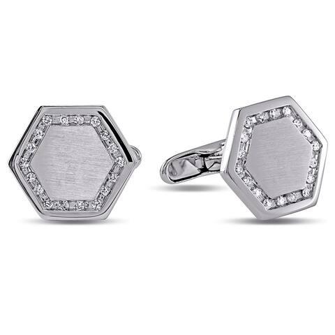 Miadora Signature Collection 14k White Gold 1/2ct TDW Diamond Cufflink (H-I, I1-I2)