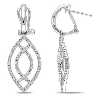 Miadora 14k White Gold 1/2ct TDW Diamond Teardrop Earrings