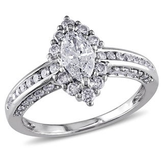 Miadora Signature Collection 14k White Gold 1 1/4ct TDW Marquise Diamond Ring