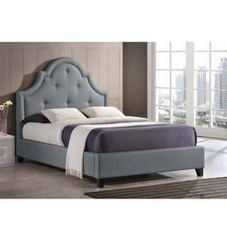 Baxton Sudio Hamlin Grey Linen Bed with Bed Bench