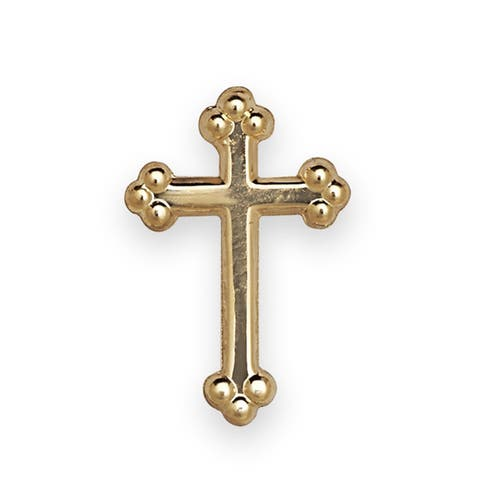 14k Yellow or White Gold Budded Cross Lapel Pin