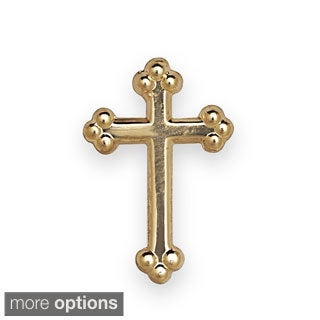 14k Yellow or White Gold Budded Cross Lapel Pin (2 options available)