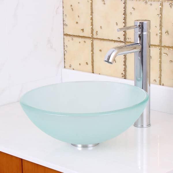 Bathroom Fixtures Elite Tempered Bathroom 14 Frosted Glass Vessel Sink Oil Rubbed Bronze Faucet Combo Bathroom Sinks