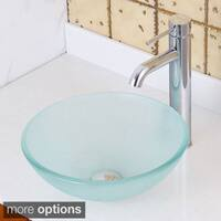 Elite GD08S/ F371023 Small Frosted Tempered Glass Bathroom Vessel Sink with Faucet Combo