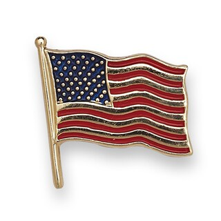 14k Yellow or White Gold Enamel American Flag Lapel Pin