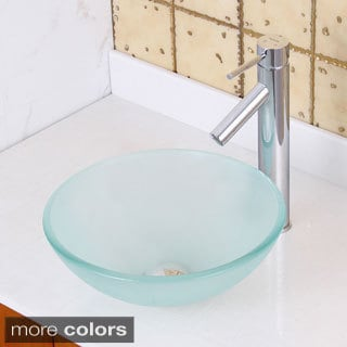 Elite GD08S/ 2659 Small Frosted Tempered Glass Bathroom Vessel Sink with  Faucet Combo