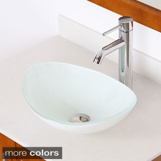 Elite 1420/ F371023 White Oval Tempered Glass Bathroom Vessel Sink with  Faucet Combo