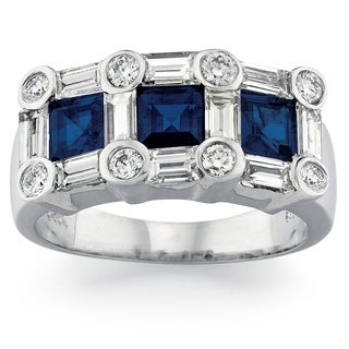14k White Gold Sapphire and 1ct TDW Diamond Ring (G-H, SI1-SI2)