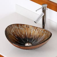 Elite 1415/ 2659 Unique Oval Artistic Bronze Tempered Glass Bathroom Vessel Sink with Faucet Combo