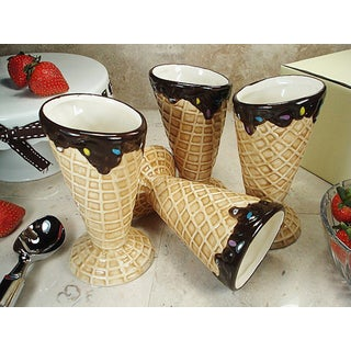 D'Lusso Designs Four Piece Waffle Cone Design Ceramic Ice Cream Cup Set