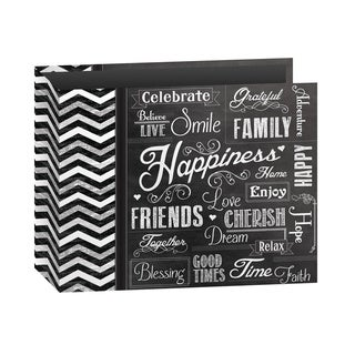 "Pioneer 3-Ring Printed ""Happiness"" Chalkboard Design Scrapbook Binder for 12"" by 12"" Pages with Bonus Refill Pack"