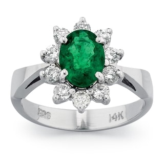 14k White Gold Emerald and 1/2ct TDW Diamond Ring (G-H, SI1-SI2)
