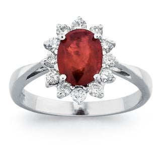 14k White Gold Ruby and 3/8ct TDW Diamond Ring (G-H, SI1-SI2)