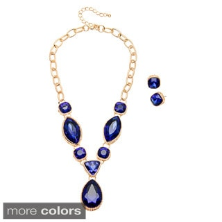 "Alexa Starr Multi-shape Crystal ""Y"" Necklace and Earrings Jewelry Set"