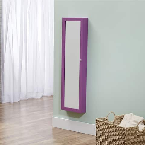 InnerSpace Over-the-Door / Wall-Hang / Mirrored Purple Jewelry Armoire (14 x 3.5 x 47)