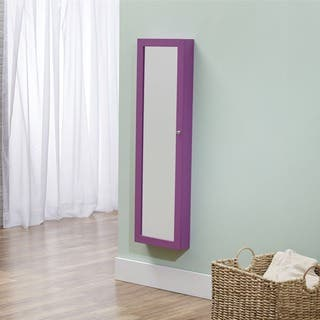 InnerSpace Over-the-Door / Wall-Hang / Mirrored Purple Jewelry Armoire (14 x 3.5 x 47)|https://ak1.ostkcdn.com/images/products/9521992/P16701023.jpg?impolicy=medium