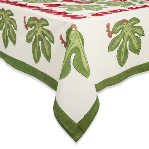 Couleur Nature Fig Red/ Green Square Tablecloth