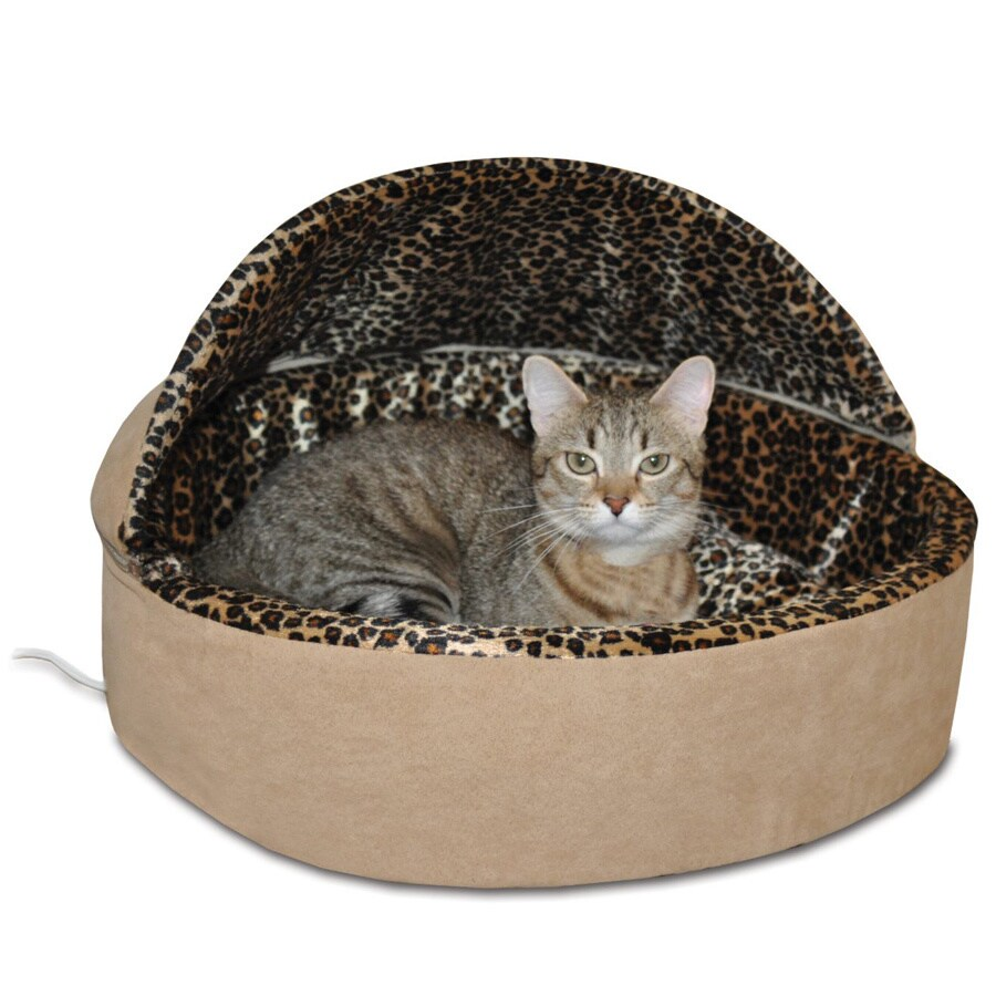 K&H Manufacturing Thermo Kitty Deluxe Hooded Bed (Tan Leo...