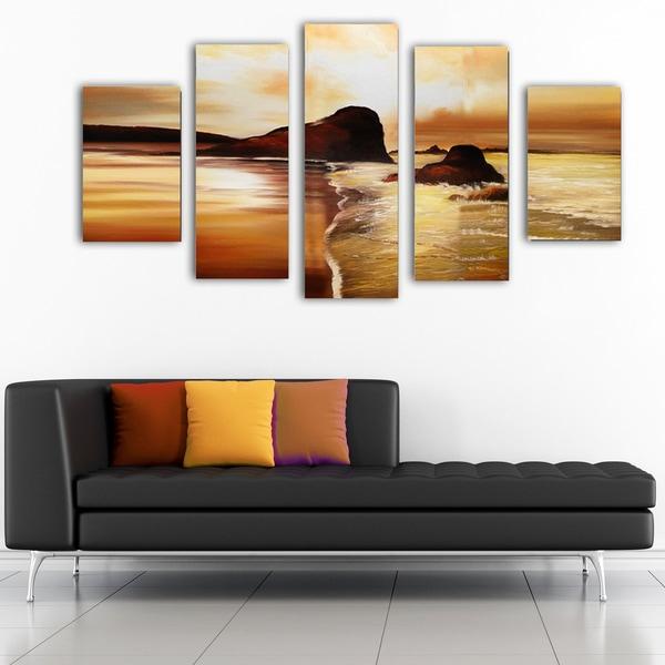 Modern Sunset on the Beach- Canvas Art Painting'Modern Sunset on the Beach' Hand-painted Oil on Canv