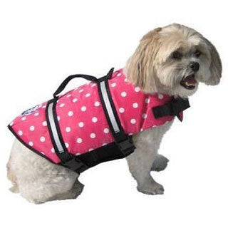 Paws Aboard Designer Doggy Life Jacket Pink Polka Dot