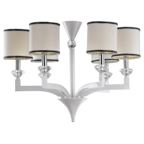 "Safavieh Lighting Erin Adjustable 6-light Pearl White Chandelier - 27.5""x27.5 ""x20.5 - 92.5"" - 27.5""x27.5 ""x20.5 - 92.5"""