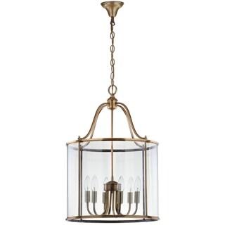Safavieh Lighting 17-Inch Adjustable 6-Light Sutton Place Large Brass Pendant Lamp
