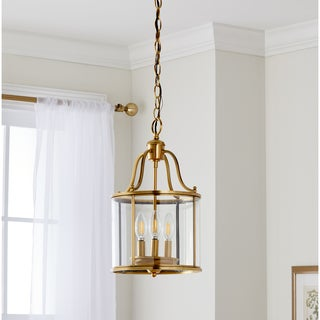Safavieh Lighting 10-Inch Adjustable 3-Light Sutton Place Small Brass Pendant Lamp