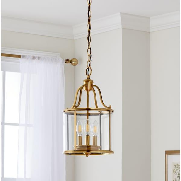 Safavieh Lighting 10-inch Adjustable 3-Light Sutton Place Small Brass Pendant Lamp