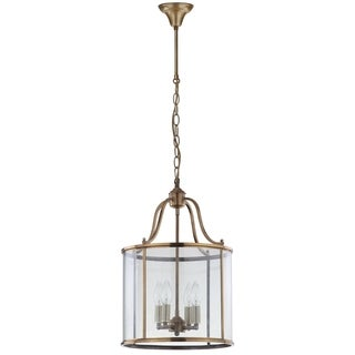 Safavieh Lighting 13-Inch Adjustable 4-Light Sutton Place Medium Brass Pendant Lamp