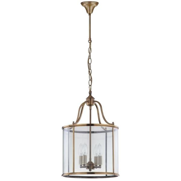 Safavieh Lighting 13-inch Adjustable 4-Light Sutton Place Medium Brass Pendant Lamp