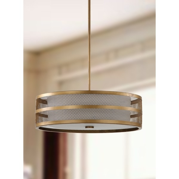 "Safavieh Lighting 20-inch Adjustable 4-Light Greta Veil Gold Pendant Lamp - 19.75"" x 19.75 "" x 9-45"""
