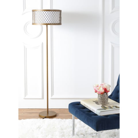 "Safavieh Lighting 58.25-inch 2-light Evie Mesh Gold Floor Lamp - 16"" x 16"" x 58.25"""