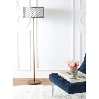 Buy gold floor lamps online at overstock our best lighting deals safavieh lighting 5825 inch 2 light evie mesh gold floor lamp aloadofball Image collections