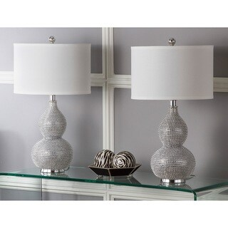 Safavieh Lighting Nicole Bead Base Silver-plated White Resin 24-inch Lamps (Set of 2)