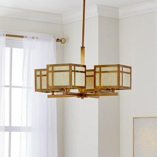 Safavieh Lighting 25-Inch Adjustable 4-Light Craftsman Gold Chandelier