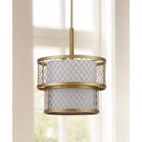 Safavieh Lighting 17-inch Adjustable 6-Light Evie Mesh Gold Pendant Lamp