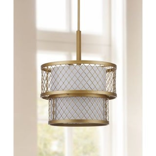 Safavieh Lighting 17-Inch Adjustable 6-Light Evie Mesh Gold Pendant Lamp