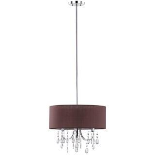 Safavieh Lighting 18-Inch Adjustable 3-Light Contessa Crystal Chrome Drum Pendant Lamp
