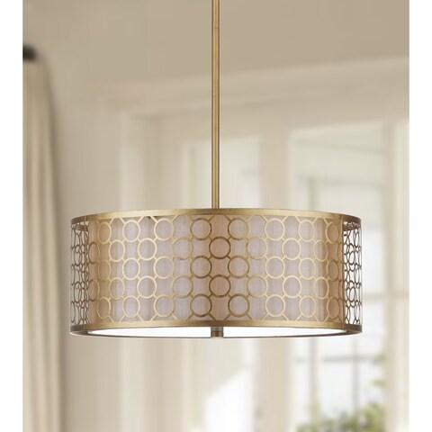 Safavieh Lighting 18-inch Adjustable 3-Light Giotta Gold Drum Pendant Lamp