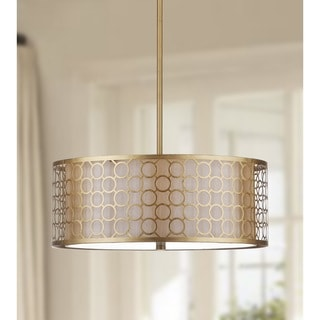 Safavieh Lighting 18-Inch Adjustable 3-Light Giotta Gold Drum Pendant Lamp