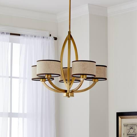 "Safavieh Lighting Talia Adjustable 5-Light Gold Chandelier - 26""x26""x22.625-58.625"""