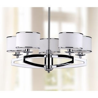 Safavieh Lighting 25-Inch Adjustable 5-Light Lenora Chrome Drum Pendant Lamp