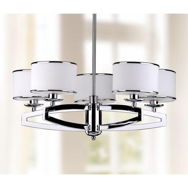 Safavieh Lighting 25-inch Adjustable 5-Light Lenora Chrome Drum Pendant Lamp